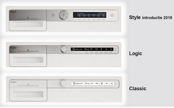 De drie series wasautomaten zijn onderscheidend in design en bediening