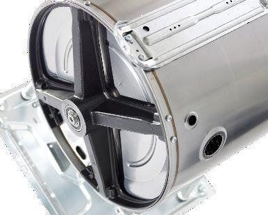 Het gietijzeren contragewicht versterkt de unieke Quattro constructie. Omdat gietijzer niet oxideert is de constructie veel duurzamer dan andere merken