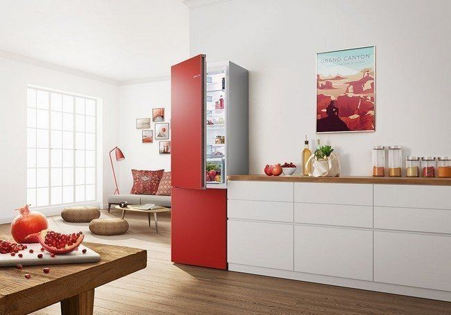 Voorbeeld van de Vario Style koelkast uitgevoerd in de kleur rood
