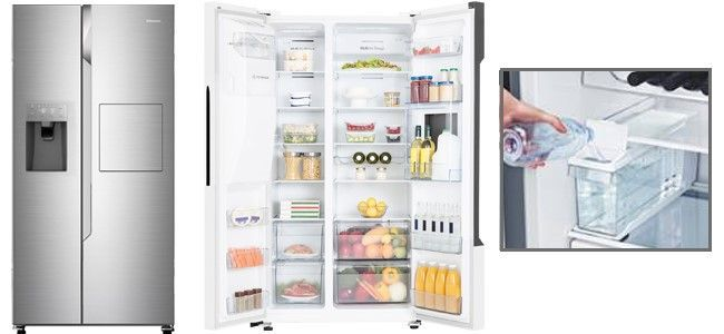 Ontdek de nieuwe Hisense RS694 Amerikaanse koel-vriescombinatie met ijs- en waterdispenser en een grote watertank met 4 liter inhoud.