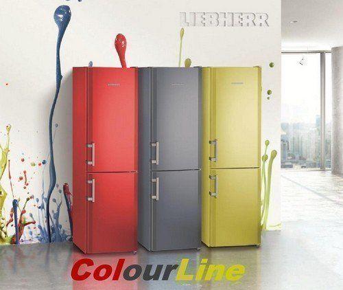 Drie koelkasten in de kleuren FireRed (CUfr3311), AdvocadoGreen (CUag3311) en WaterBlue (CUwb3311)