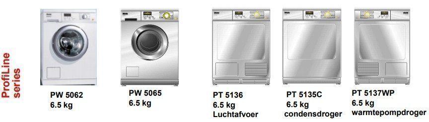 Het assortiment kleine geweldenaars van Miele bestaat uit een interessante lijn professionele wasmachines en drogers