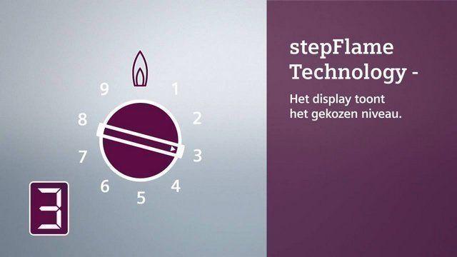 Siemens gaskookplaat met StepFlame: in te stellen op de gewenste stand